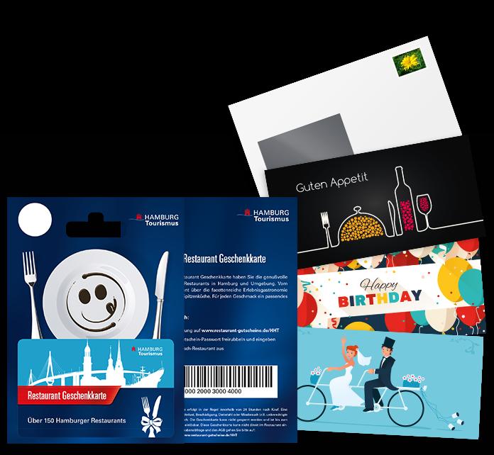 Abbildung unserer Hamburg Restaurant-Geschenkkarte mit Grußkarte und Umschlag